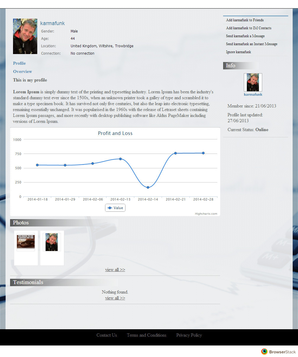 My Trades Social Network Web Design